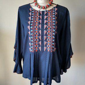 SUNDANCE Boho Embroidered Top 3/4 Ruffle Sleeve